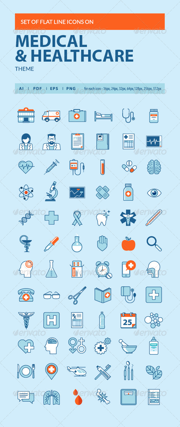 GraphicRiver Set of Flat Line Icons on Medicine Theme 8371036