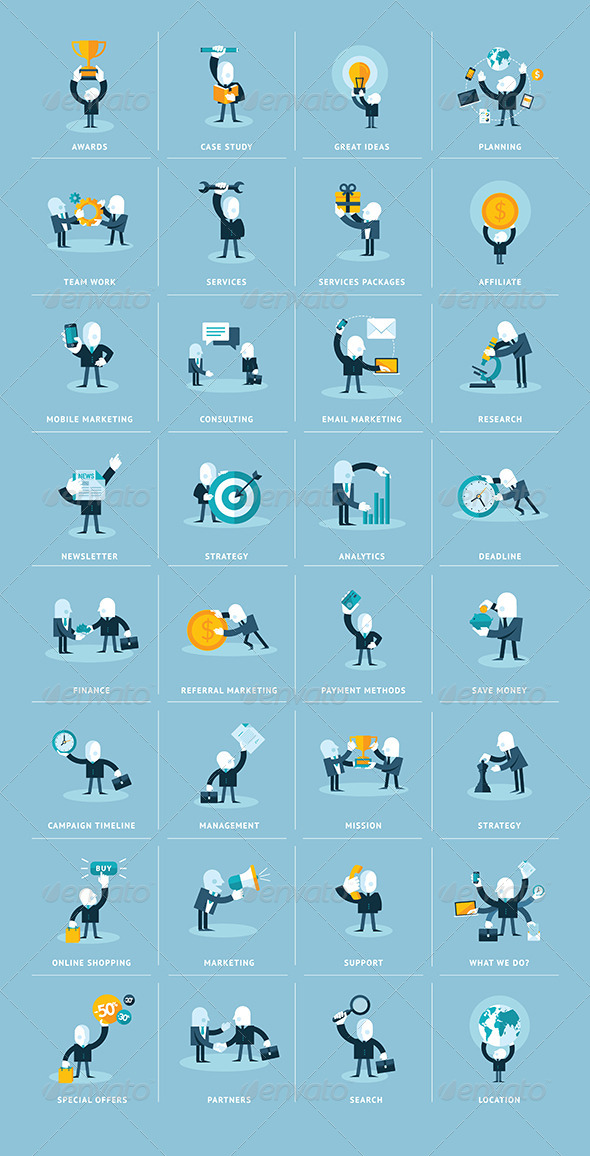 GraphicRiver Flat Design Business People Icons 8371063