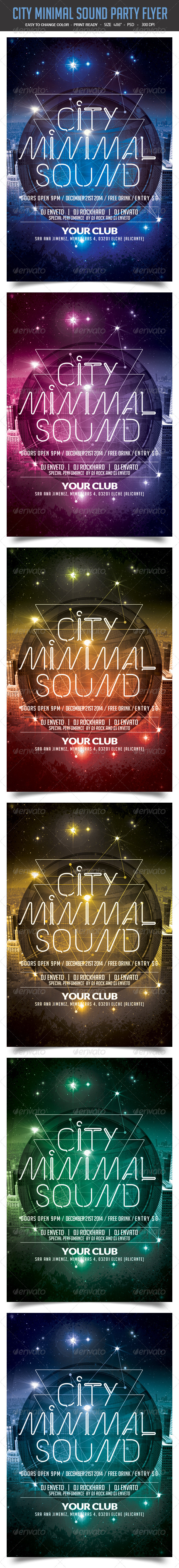 GraphicRiver City Minimal Sound Party Flyer 8371599