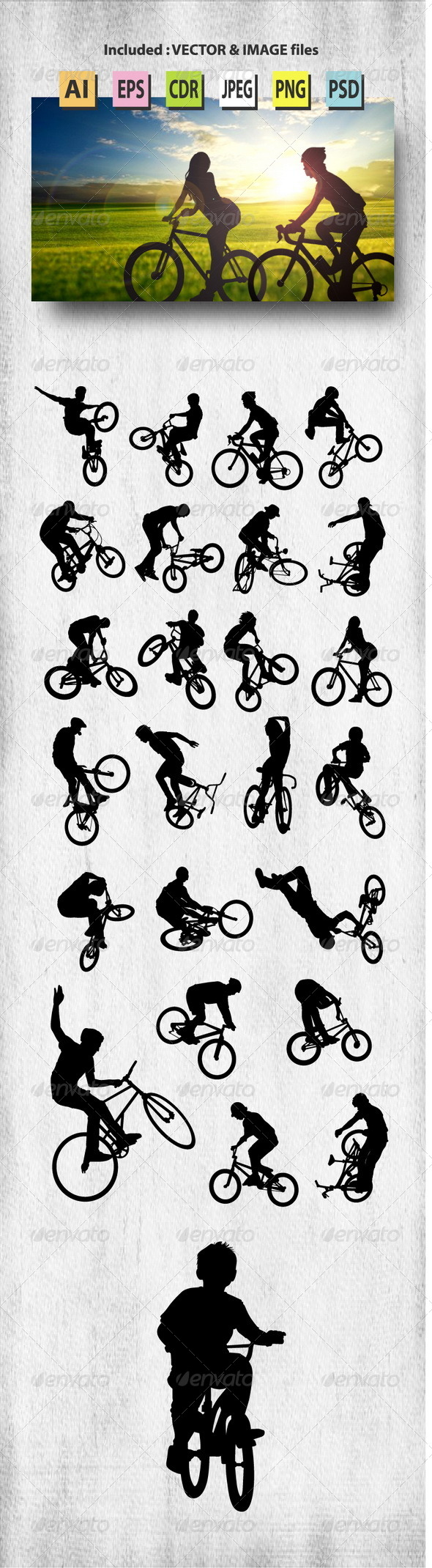 GraphicRiver Bike Rider Silhouettes 8371638