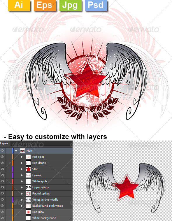 GraphicRiver Red Star Painted with Paint 8371718