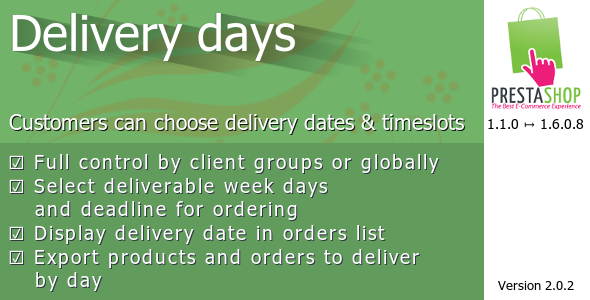 CodeCanyon Delivery days for Prestashop 8371810