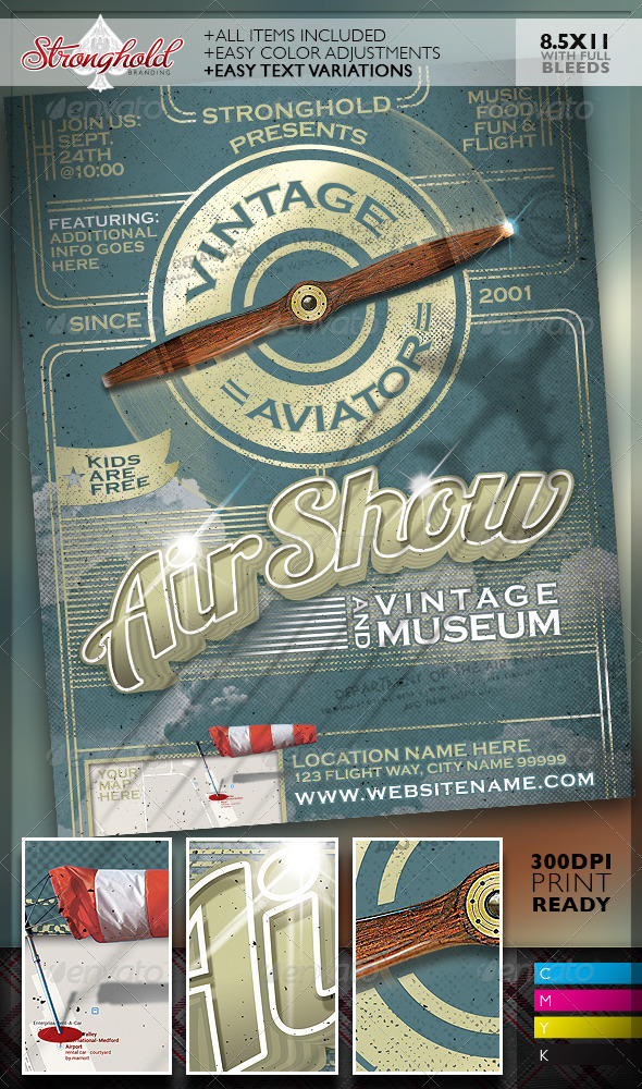 GraphicRiver Vintage Air Show Event Flyer Template 8372387
