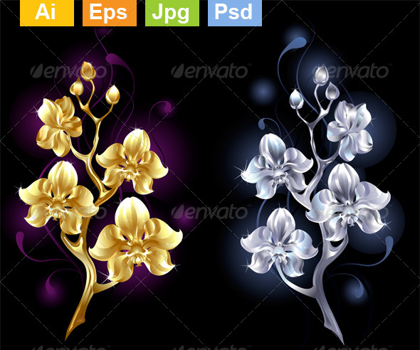 GraphicRiver Gold and Silver Orchids 8372406