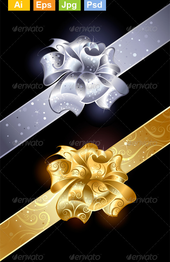 GraphicRiver Gold and Silver Bows 8372426