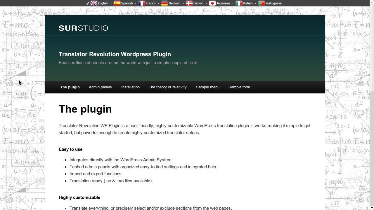 Ajax Translator Revolution WordPress Plugin - Check out the live preview at http://www.surstudio.com.ar/translator-revolution-wordpress-plugin/
