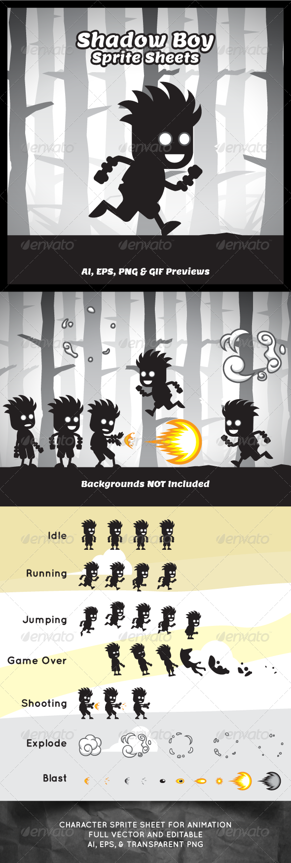 GraphicRiver Shadow Boy Game Character Sprite Sheets 8372563