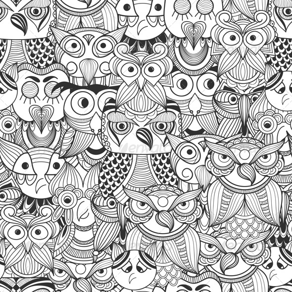 GraphicRiver Seamless Pattern with Doodle Owls 8364481
