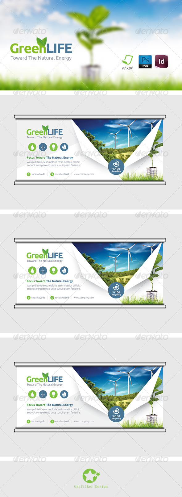 GraphicRiver Green Energy Billboard Templates 8364640