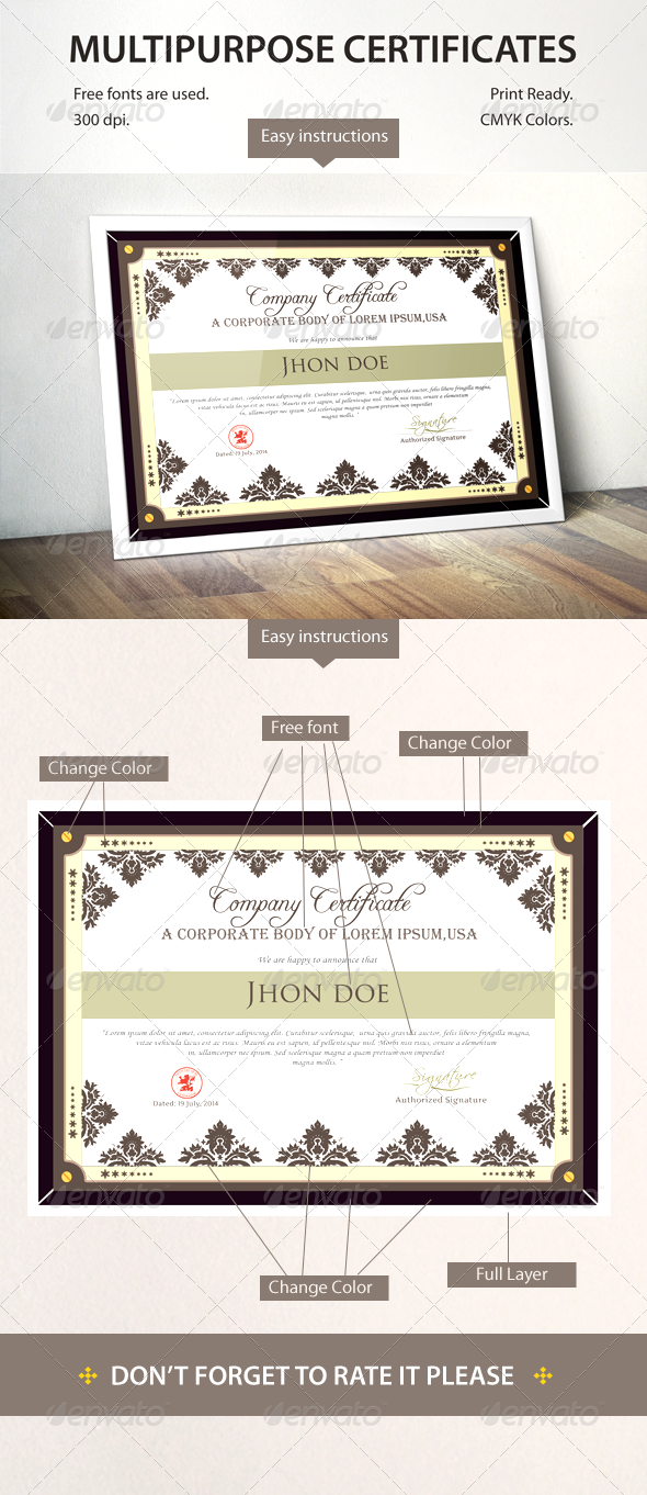 GraphicRiver Multipurpose Certificates 8358220
