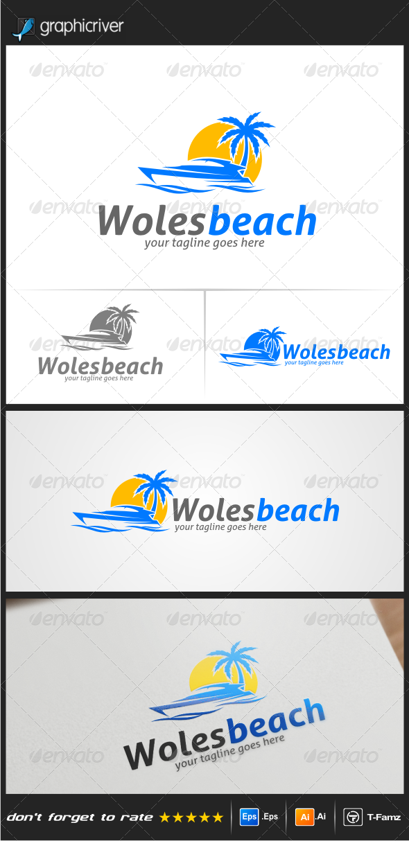 GraphicRiver Woles Beach Logo Templates 8372974