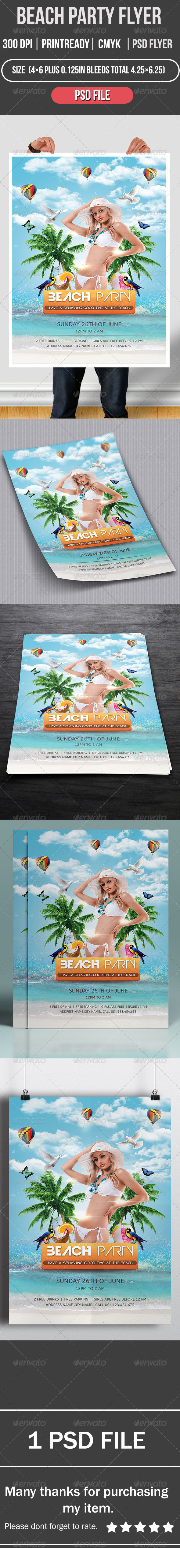 GraphicRiver Beach party flyer 8373070