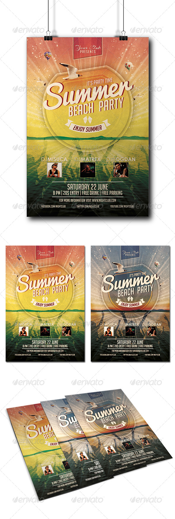 GraphicRiver Summer Beach Party Flyer 8373227