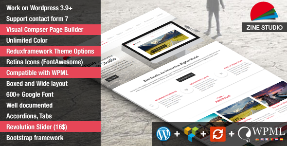 ThemeForest Zine- Responsive Parallax Business WordPress Theme 8373241