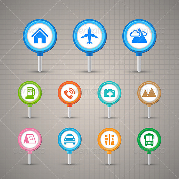 GraphicRiver Map Pins with Transportation Icons Set 8373665