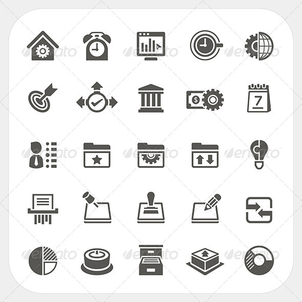 GraphicRiver Business and Office Icons Set 8373674