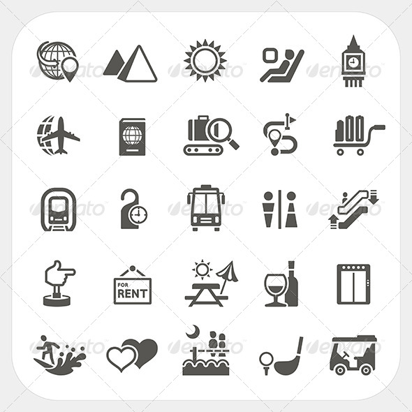 GraphicRiver Travel and Transportation Icons Set 8373675