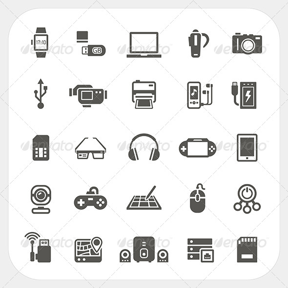 GraphicRiver Electronic and Gadget Icons Set 8373680