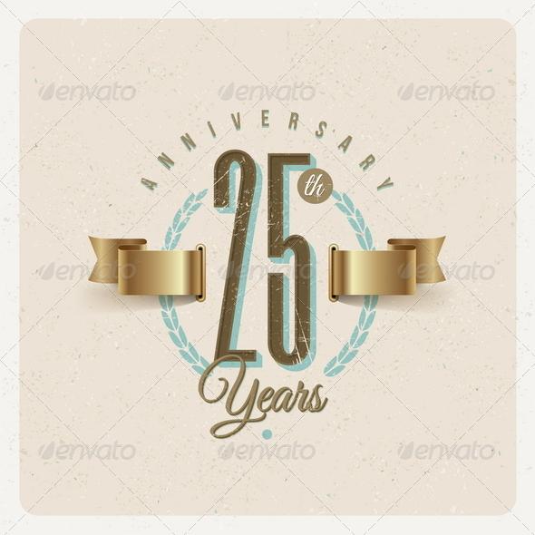 GraphicRiver Vintage Anniversary Type Emblem 8373710