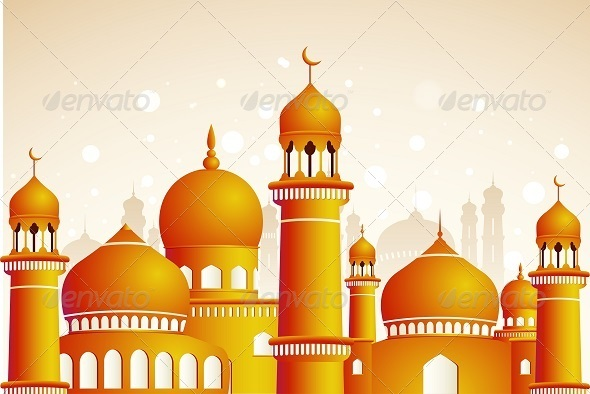 GraphicRiver Arabic Mosque on Shiny Light Background 8373748