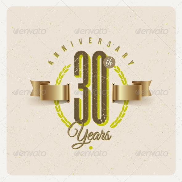 GraphicRiver Vintage Anniversary Type Emblem 8373787