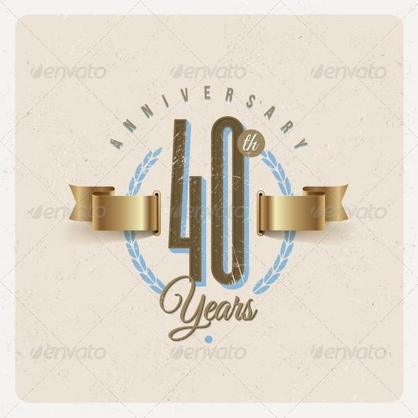 GraphicRiver Vintage Anniversary Type Emblem 8373794