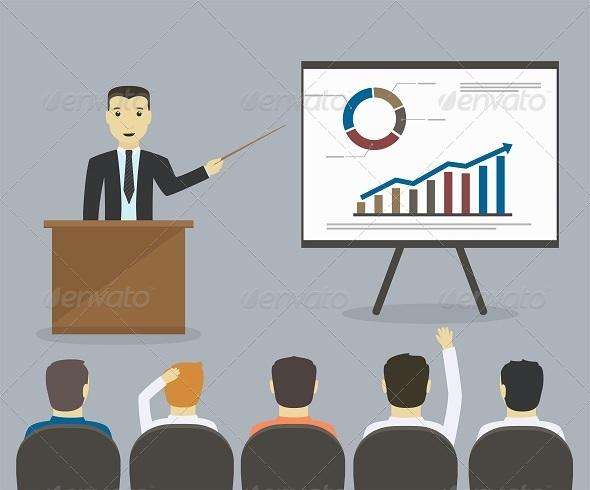 GraphicRiver Businessman Gives a Presentation or Seminar 8373844