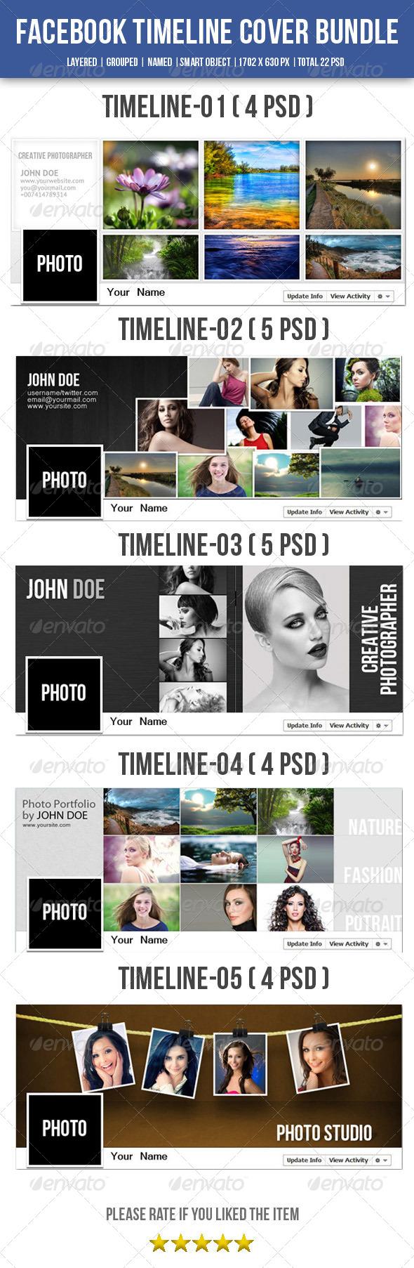 GraphicRiver 5 In 1 Facebook Timeline Bundle 8373932
