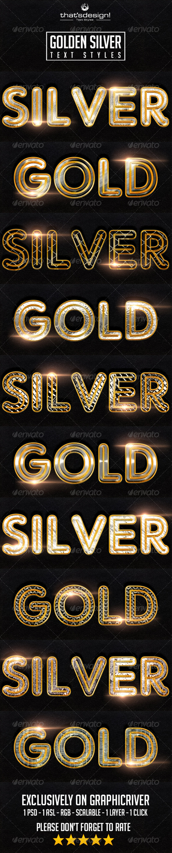 GraphicRiver 10 Golden Silver Text Styles 8368219