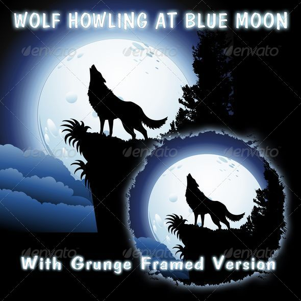 GraphicRiver Wolf Howling at Blue Moon 8374101
