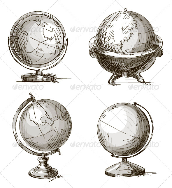 GraphicRiver Set of Four Hand Drawn Globes 8374134