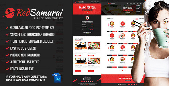 Red Samurai PSD Template - Food Retail