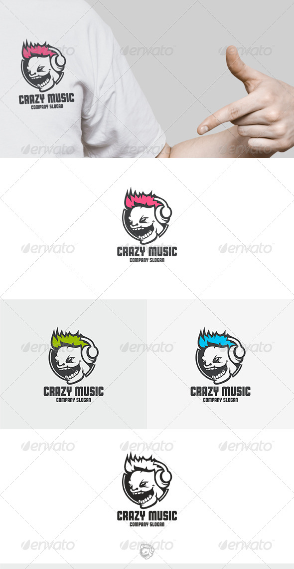 GraphicRiver Crazy Music Logo 8374387