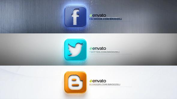 AE模板:三维质感社交网络应用程序推广logo展示模板