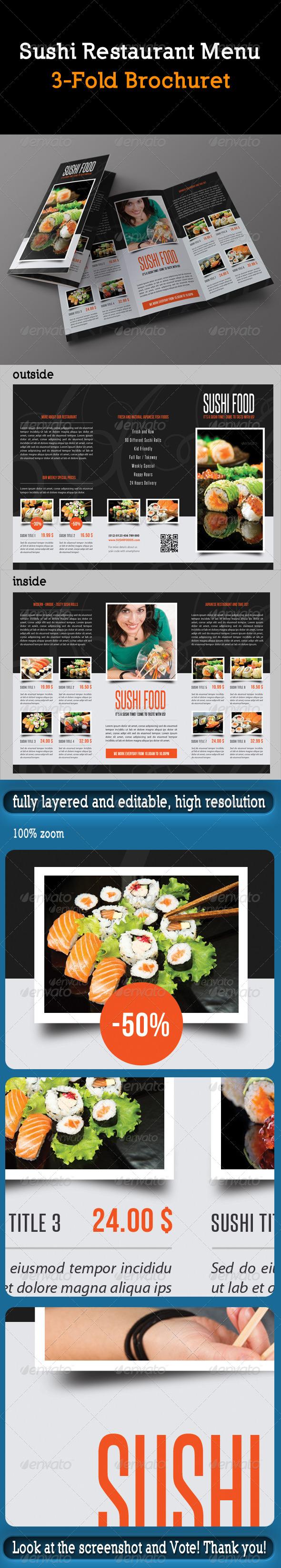 GraphicRiver Sushi Restaurant Menu 3-Fold Brochure 8374527