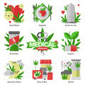 Medical marijuana flat icons set - PhotoDune Item for Sale