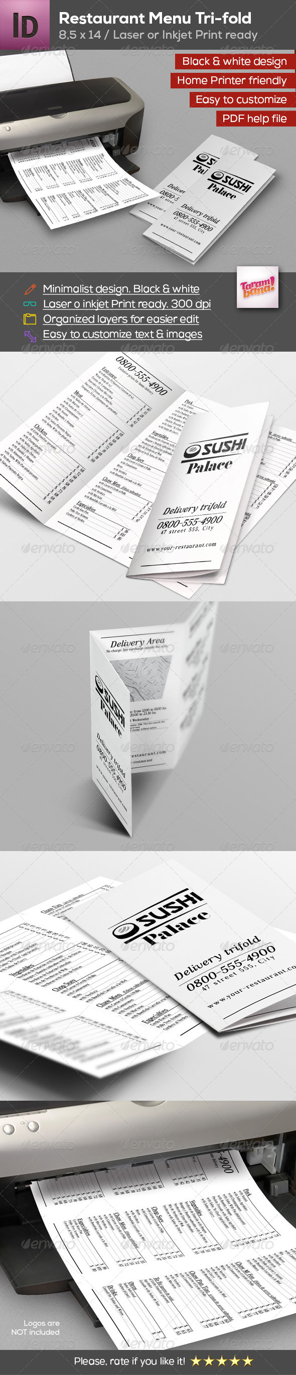 GraphicRiver Restaurant Menu Trifold Friendly Laser Printer 8325954