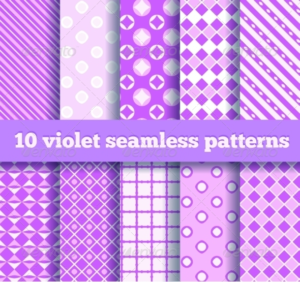 GraphicRiver Set of Ten Seamless Geometric Violet Patterns 8374948