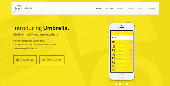 ThemeForest Umbrella App Landing Page 8281371