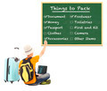 young backpacker check things to pack on blackboard with over white background - PhotoDune Item for Sale