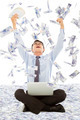 happy business man winning a lottery with money rain background - PhotoDune Item for Sale