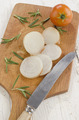 sliced onion on old wooden board - PhotoDune Item for Sale