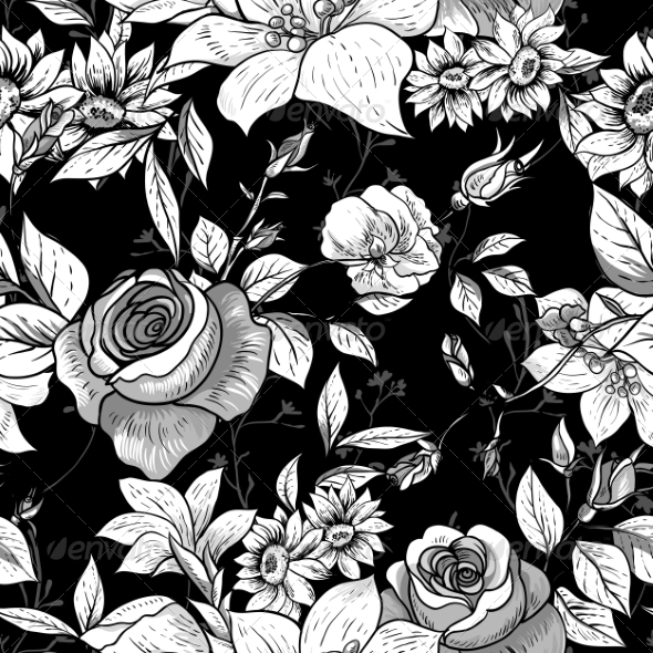 GraphicRiver Seamless Monochrome Floral Rose Background 8375313