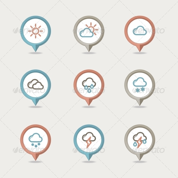 GraphicRiver Weather Mapping Pins Icon 8375398