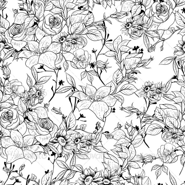 GraphicRiver Seamless Monochrome Floral Rose Background 8375483