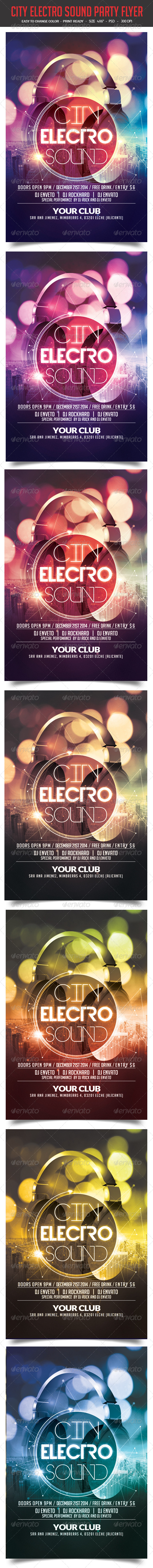 GraphicRiver City Electro Sound Party Flyer 8375636