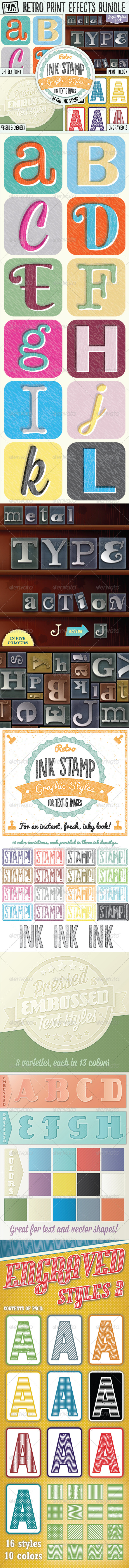 GraphicRiver Retro Print Text Effects Bundle 8375772