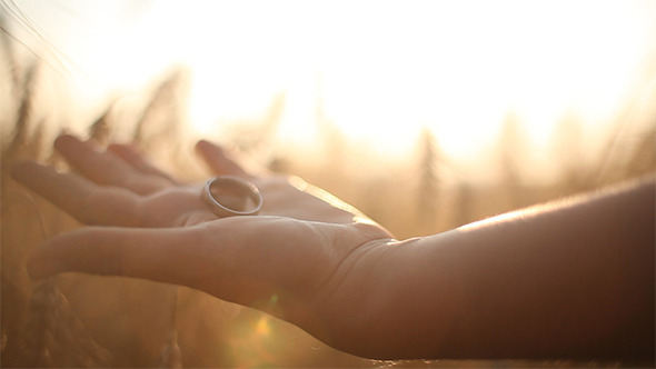 Hand with Wedding Ring on Ceral Field 2