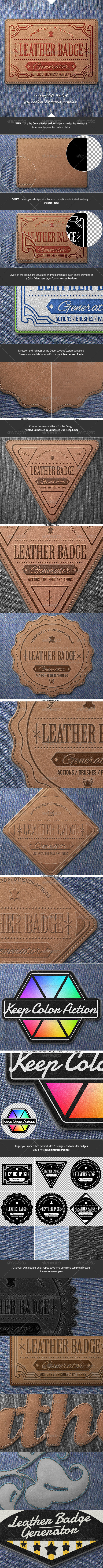 GraphicRiver Leather Badge Generator Photoshop Actions 8376002