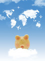 Piggy bank on cloud with world map shape clouds and airplanes - PhotoDune Item for Sale